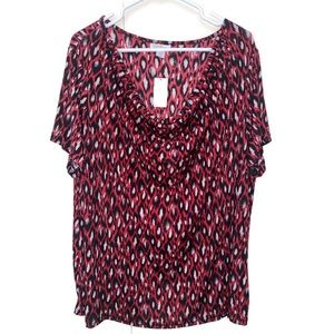 NWT Jaclyn Smith Womens Blouse 2X Red Animal Print